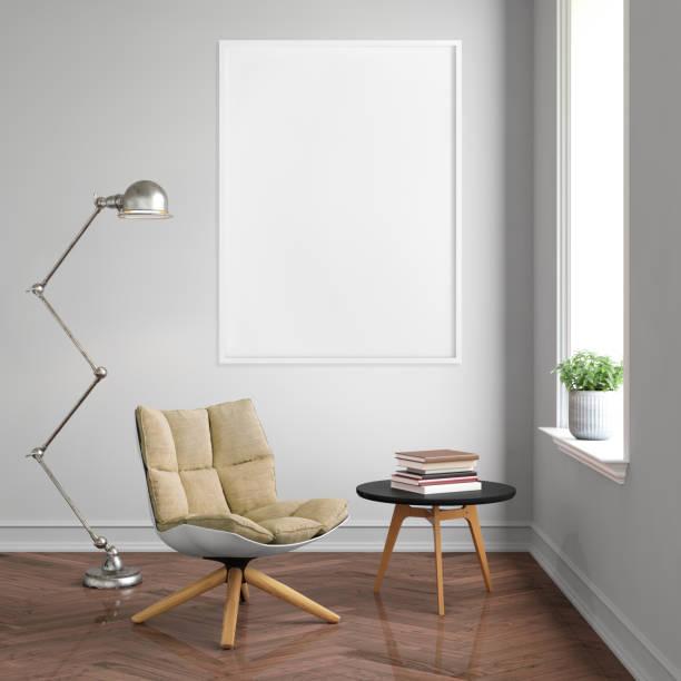 inneren hipster leeres bild poster frame vorlage - zeitschrift wandkunst stock-fotos und bilder