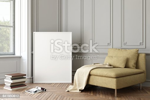 Blank picture poster picture frame template. Modern hipster beige armchair in front of ornate wall. interior modern copy space background mock up. hardwood floor, lamp, books. square composition render template.