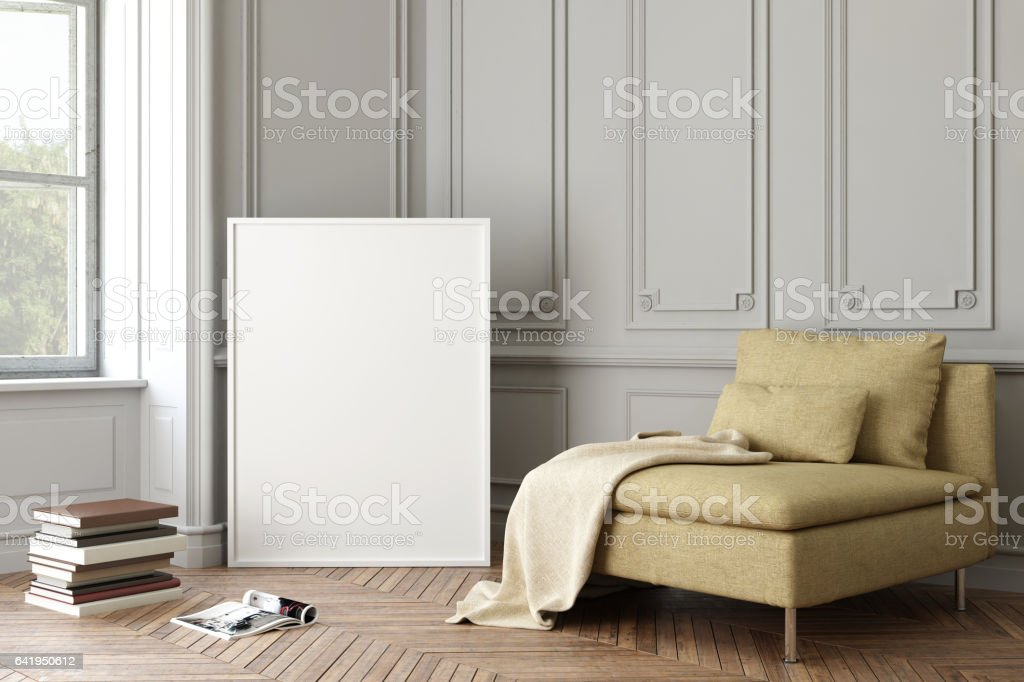 Interior hipster blank picture poster frame template - foto stock