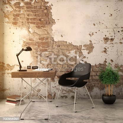 istock Interior hipster brick wall with chair and a table 700958990