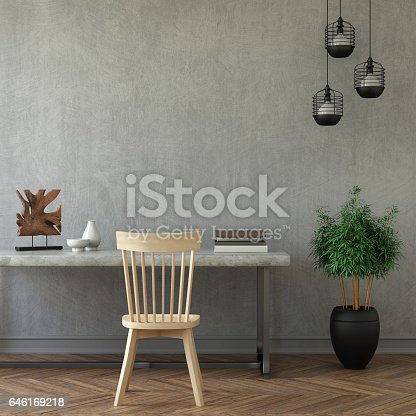 istock Interior hipster business mock up wall background 646169218