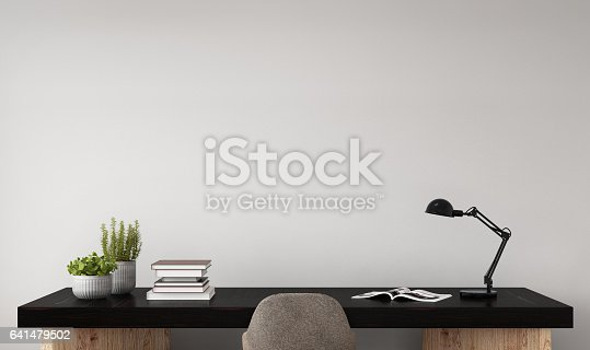istock Interior hipster mock up wall background 641479502