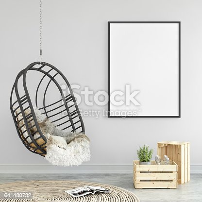 Blank picture poster frame template. Hanging chair in the living room interior with wall in the background. copy space mock up template. square composition. Carpet, hipster design elements