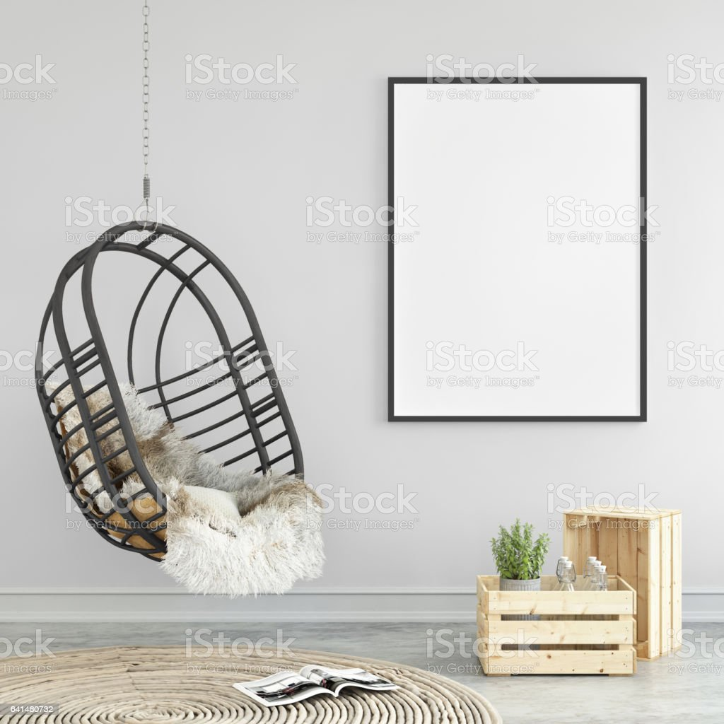 Interior hipster mock up wall background - foto stock