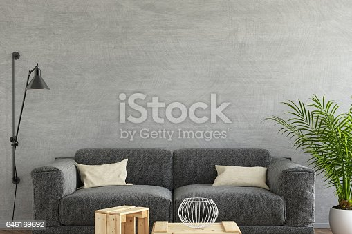 istock Interior hipster mock up wall background 646169692