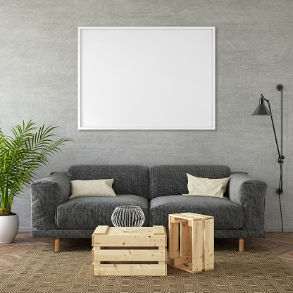 Modern black sofa with  pillows in front of an empty wall. Square composition. interior template. designer copy space render with blank picture poster frame copy space. wooden coffee table, large plant and wall lamp.