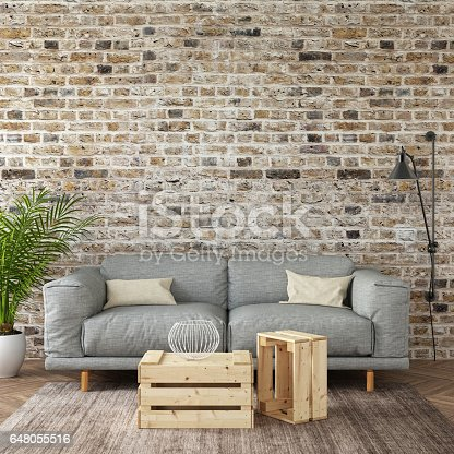 istock Interior hipster mock up wall background 648055516