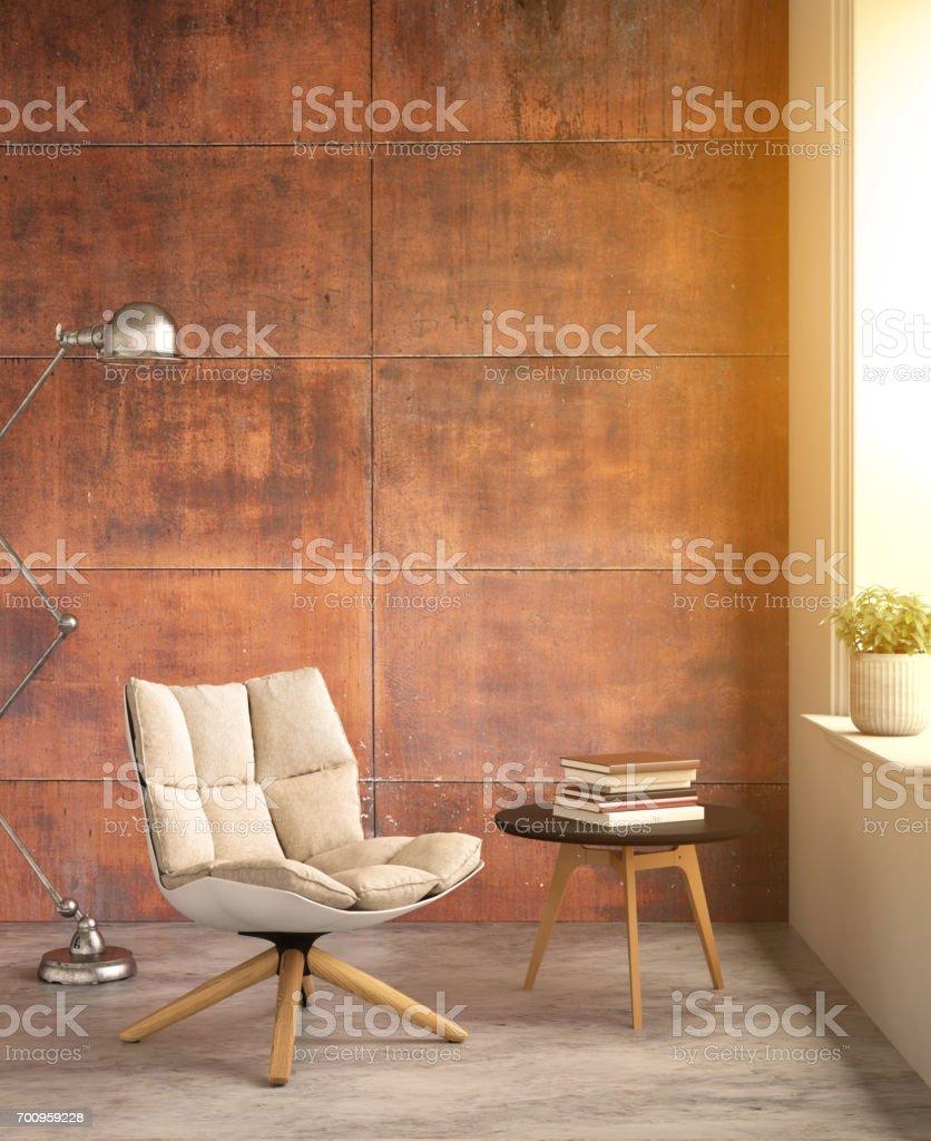 Inneren Hipster Verkleidung Rost Wand Mit Stuhl Und Einen Tisch ...