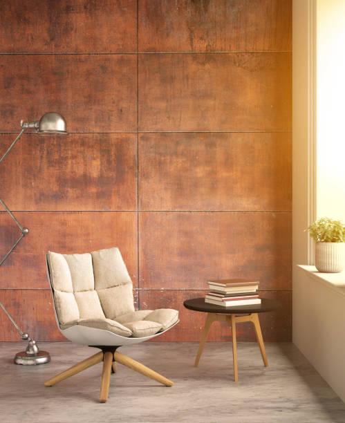 inre hipster panelning rost vägg med bord och stol - solar panel bildbanksfoton och bilder
