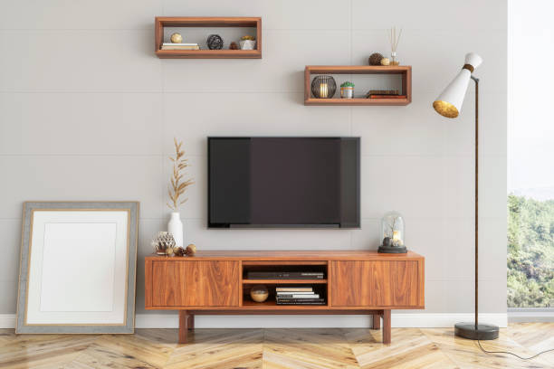 Interieur-Hipster smart tv und leeres Bild-Plakatrahmen – Foto