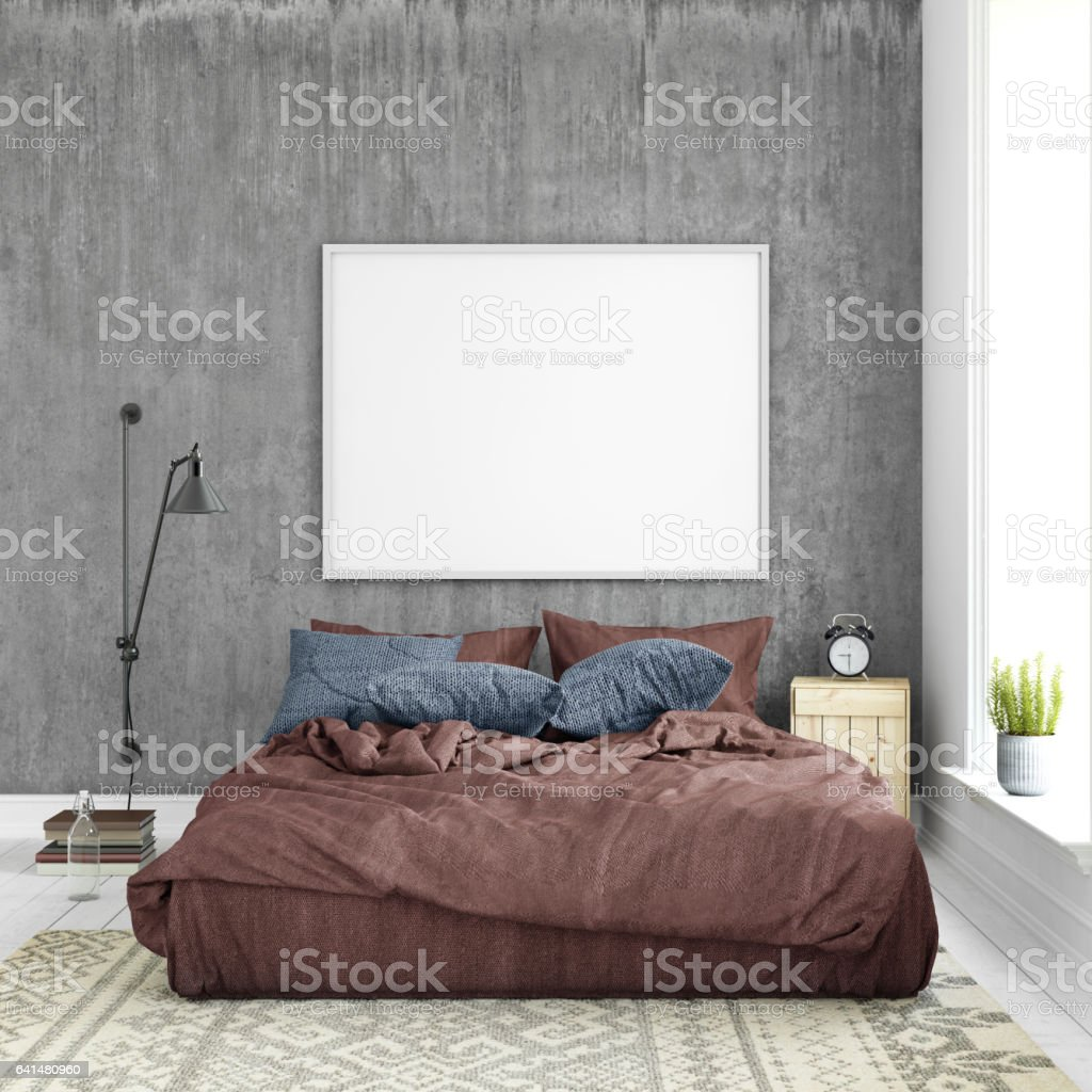 Interior hipster template wall background with picture frame stock photo