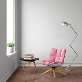 Empty wall interior template. Modern pink armchair in front of the concrete wall. interior modern copy space background mock up. hardwood floor, lamp, books. square composition render template. Window with daylight. square composition