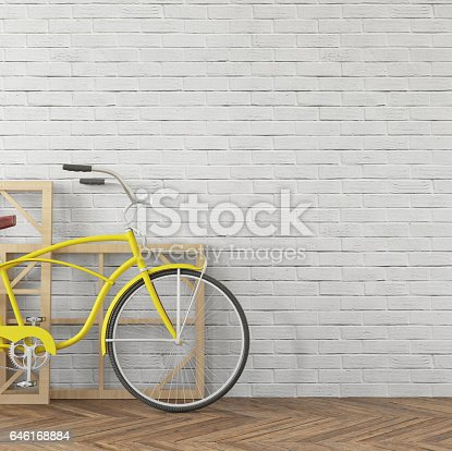 istock Interior hipster wall bicycle with shelf template 646168884