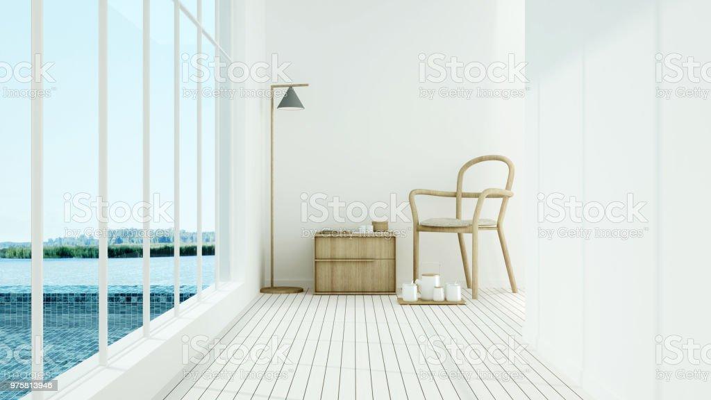 Interior Hotel relax Raum und Schwimmbad 3D-Rendering - Natur Ansicht Hintergrund - Lizenzfrei Architektur Stock-Foto