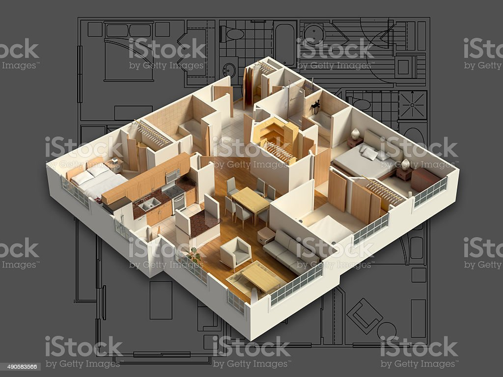 3D Interior House Isometric stock photo