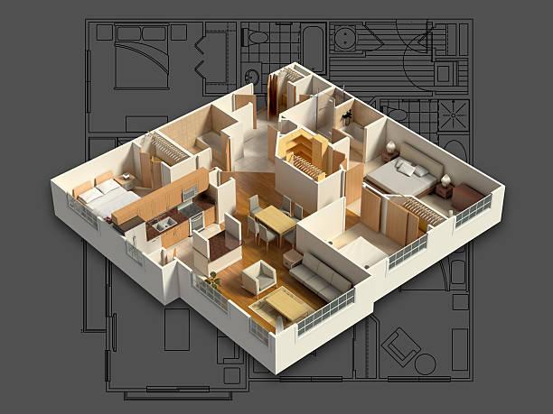 3D Interior House Isometric stock photo