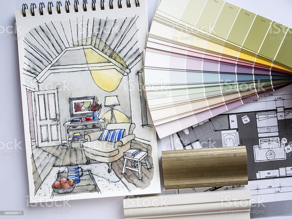 Interior illustration sketch with material color scheme concept stock photo