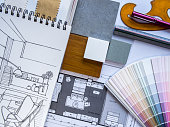 istock Interior illustration sketches with color swatches 498980919