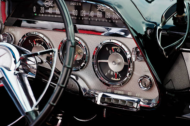 Interior image of a convertible The interior in a convertible. 1959 luxury car stock pictures, royalty-free photos & images