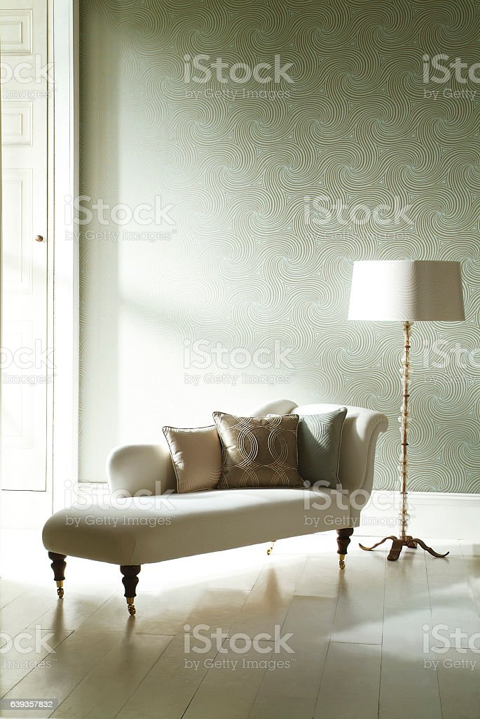 Interior image of chaise lounge in room stock photo