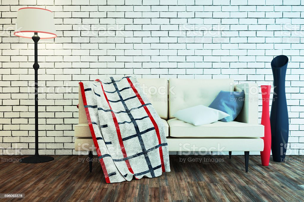 Interior in a Modern style with a brick wall. royalty-free stock photo