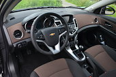 Munich, Germany – 2nd July, 2012: Interior in Chevrolet Cruze vehicle. This model was revealed in 2008.