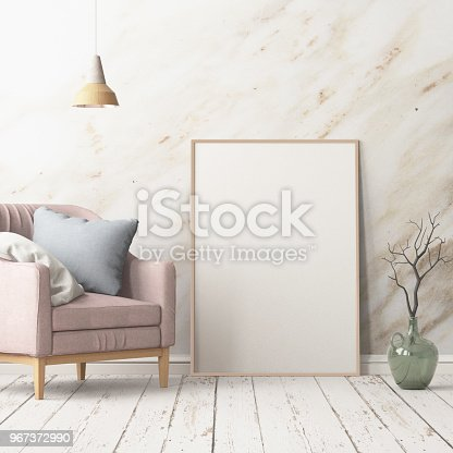 923497490istockphoto Interior in lag style with an armchair. Scandinavian style. 3D rendering 967372990