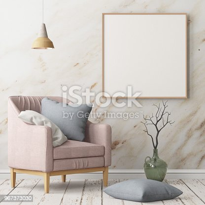 923497490istockphoto Interior in lag style with an armchair. Scandinavian style. 3D rendering 967373030