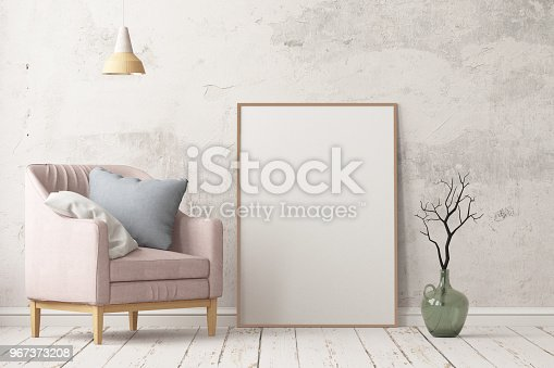 923497490istockphoto Interior in lag style with an armchair. Scandinavian style. 3D rendering 967373208
