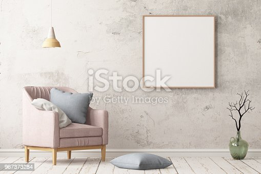 923497490istockphoto Interior in lag style with an armchair. Scandinavian style. 3D rendering 967373284