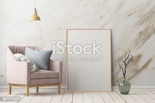 923497490istockphoto Interior in lag style with an armchair. Scandinavian style. 3D rendering 967373338