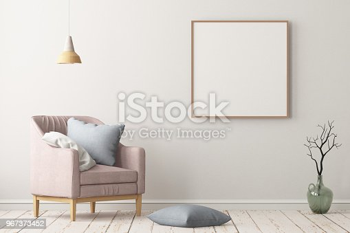 923497490istockphoto Interior in lag style with an armchair. Scandinavian style. 3D rendering 967373452