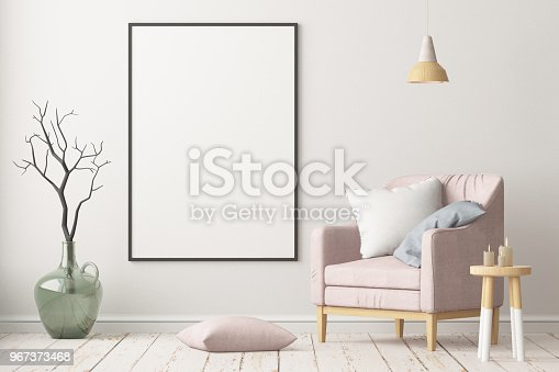 923497490istockphoto Interior in lag style with an armchair. Scandinavian style. 3D rendering 967373468