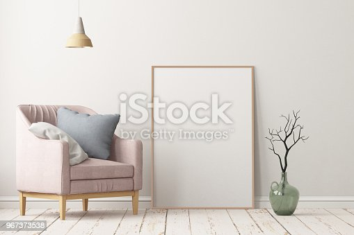 923497490istockphoto Interior in lag style with an armchair. Scandinavian style. 3D rendering 967373538