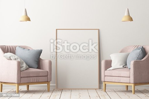 923497490istockphoto Interior in lag style with an armchair. Scandinavian style. 3D rendering 967373666