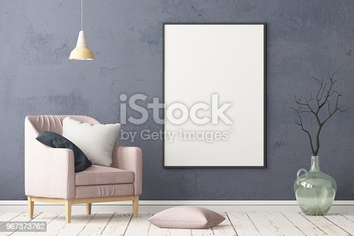 923497490istockphoto Interior in lag style with an armchair. Scandinavian style. 3D rendering 967373762