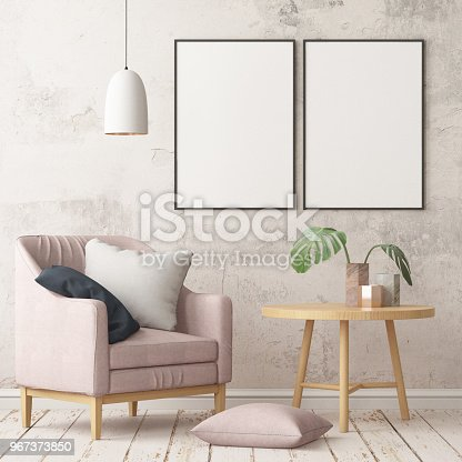 923497490istockphoto Interior in lag style with an armchair. Scandinavian style. 3D rendering 967373850