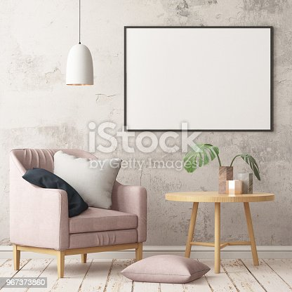 923497490istockphoto Interior in lag style with an armchair. Scandinavian style. 3D rendering 967373860