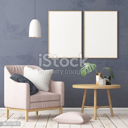 923497490istockphoto Interior in lag style with an armchair. Scandinavian style. 3D rendering 967373870