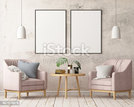 923497490istockphoto Interior in lag style with an armchair. Scandinavian style. 3D rendering 967373878