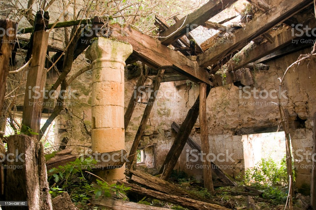 Interior in ruins of a medieval church stock photo