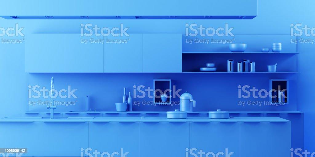 Interior Kitchen Background in Minimalist Monochrome Style royalty-free stock photo
