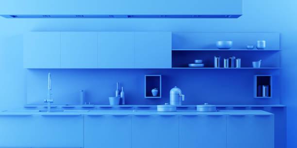 fond intérieur de cuisine dans un style minimaliste monochrome - monochrome image teintée photos et images de collection