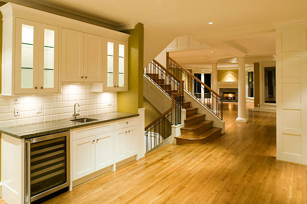 interior kitchen home unfurnished stock photo