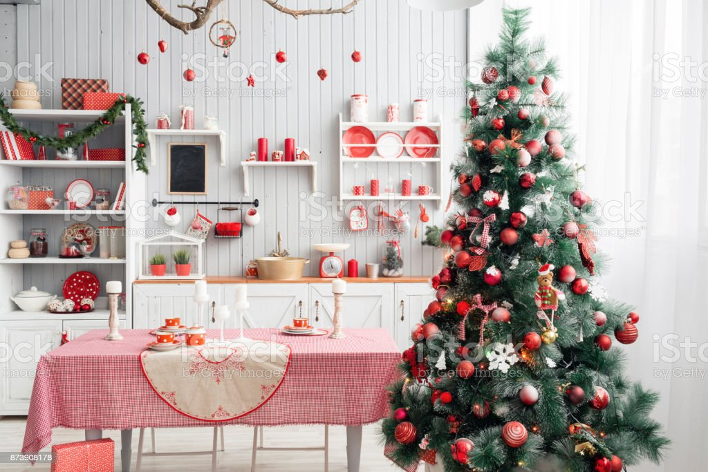 Interior Light Grey Kitchen And Red Christmas Decor Preparing Lunch ...