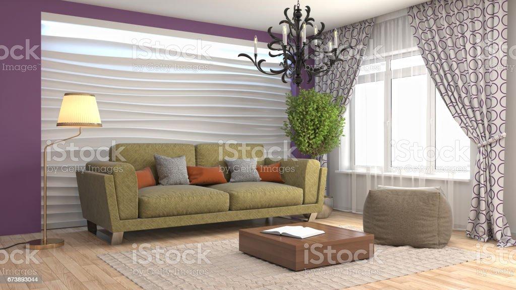 Salon intérieur. illustration 3D photo libre de droits