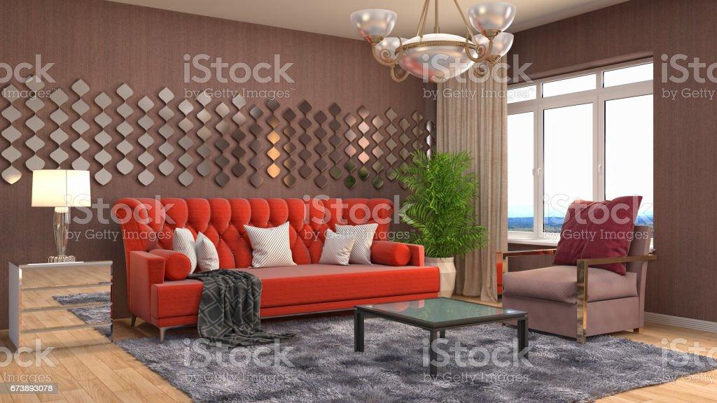 Interior living room. 3d illustration foto de stock royalty-free