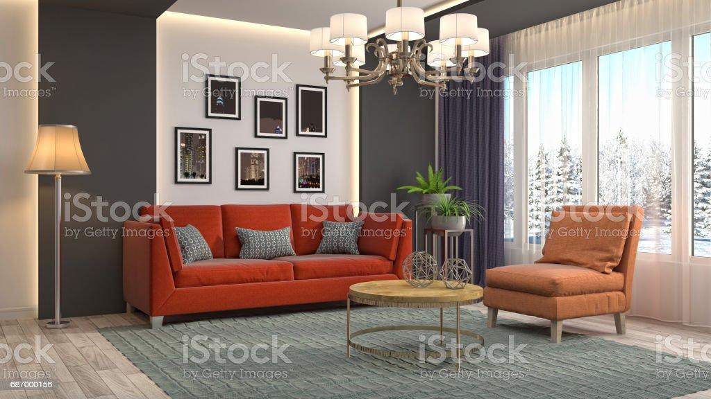 Innenraum Wohnzimmer. 3D illustration Lizenzfreies stock-foto