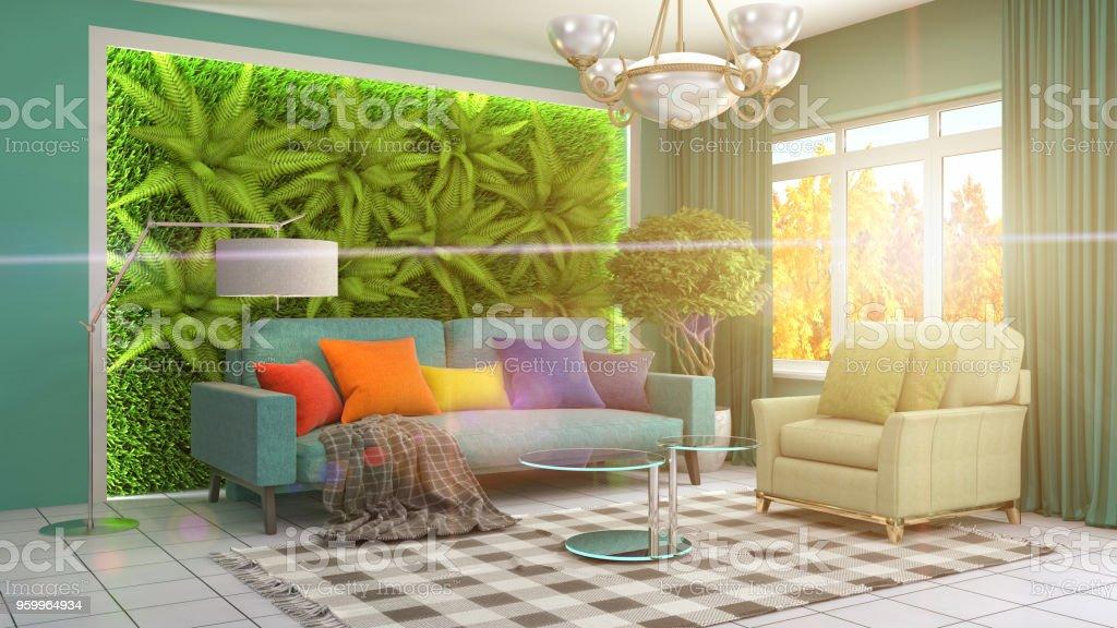 Salon intérieur. illustration 3D - Photo de Ameublement libre de droits