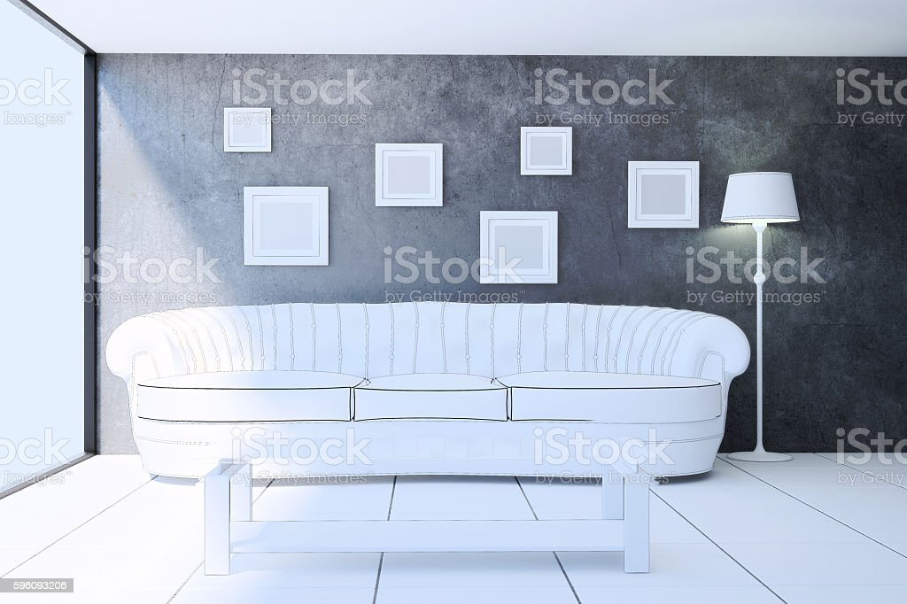 Interior living room in sketch style. 3d illustration royalty-free stock photo